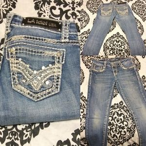 LA Idol Skinny Jeans Low Rise Size 1 Medium Wash